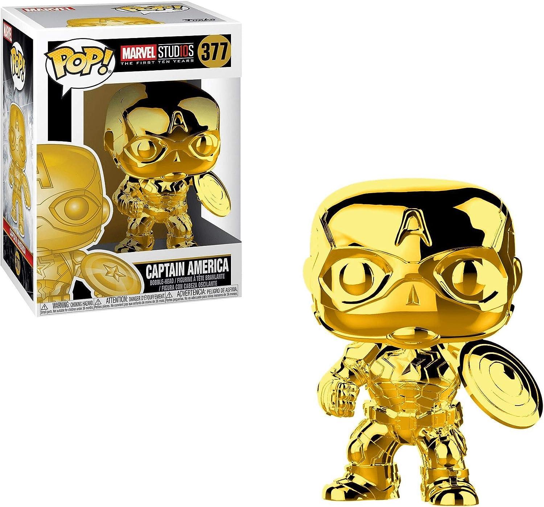 Funko Pop Captain America 377 Marvel Studios 10 ANNIV Gold Chrome Avec Protecteur