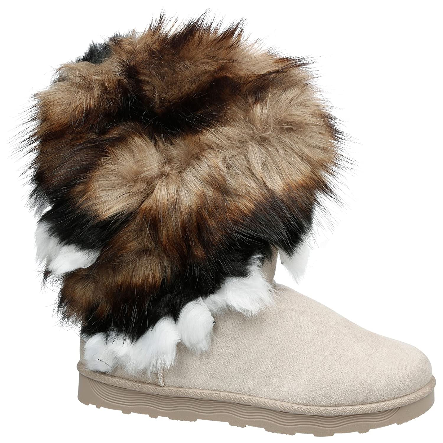 Feet First Fashion Martha Womens Flat Fur Lined Fringed Ankle Boots:  Amazon.co.uk: Shoes & Bags