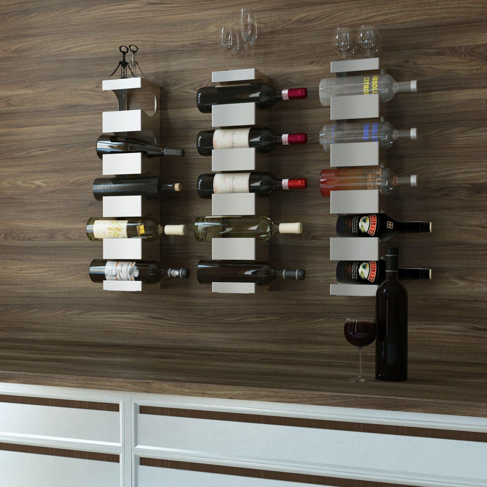 Set of 3 Stainless Steel Wine Rack - Wide Multi Bottle Holder with Top Shelf Section - Modern Art Design - Wall Mount (Holds 15 Bottles)
