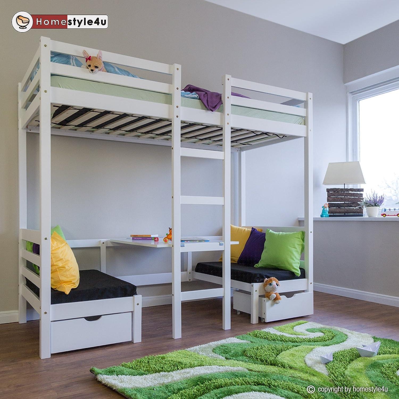 Homestyle4u Kinderbett Hochbett Funktionsbett Jugendbett 90x200 weiß ...