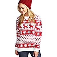 New Unisex Ladies Men Kids Christmas Jumper Reindeer Snowflakes Knitted Xmas Long Sweater Top