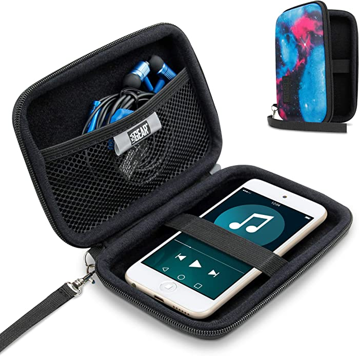 USA Gear Hard Shell iPod Travel Case Compatible with Apple iPod Touch (7th Generation, 6th Generation, 5th Generation), MP3 Player Case with Water-Proof Exterior, Wrist Strap - Galaxy