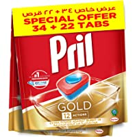 Pril Gold Automatic Dishwashing Tablets (34 Tabs + 22 Tabs), Faster dissolving tab with deep clean and action against…