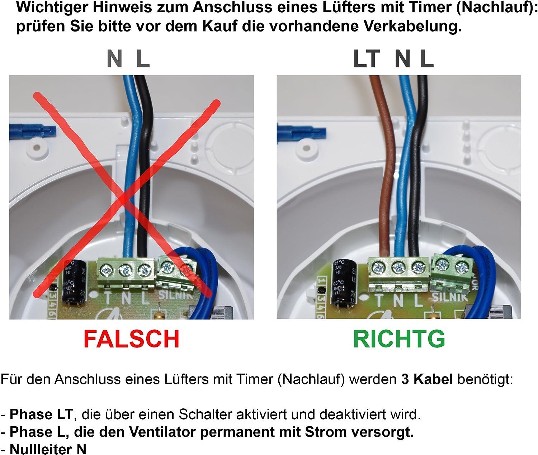 Badl/üfter Wand-Ventilator inox /Ø 100 mit Nachlauf Kugellager Silent Trax Line System+