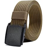 Men's Nylon Belt, Military Tactical Belts Breathable Webbing Canvas Belt with Plastic Buckle for Pants Size Below 46""