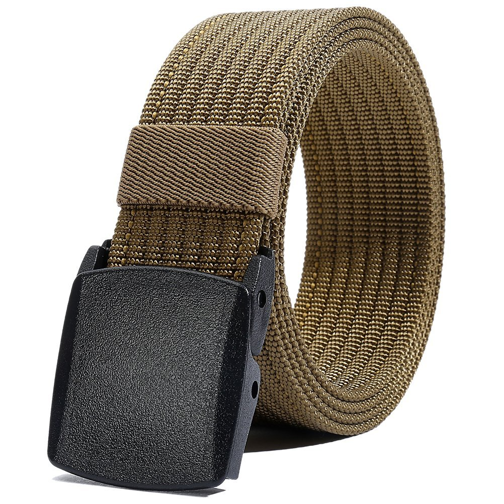 Nylon Belt Men, Military Tactical Belt with YKK Plastic Buckle, Durable Breathable Waist Belt for Work Outdoor Sports,Adjustable for Pants Size Below 46inches[53''Long1.5''Wide] (Brown)