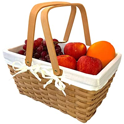 Picnic Basket Natural Woven Woodchip with Double Folding Handles | Easter Basket | Storage of Plastic Easter Eggs and Easter Candy | Organizer Blanket Storage | Bath Toy and Kids Toy Storage : Garden & Outdoor