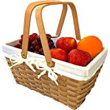 Picnic Basket Natural Woven Woodchip with Double Folding Handles   Easter Basket   Storage of Plastic Easter Eggs and Easter