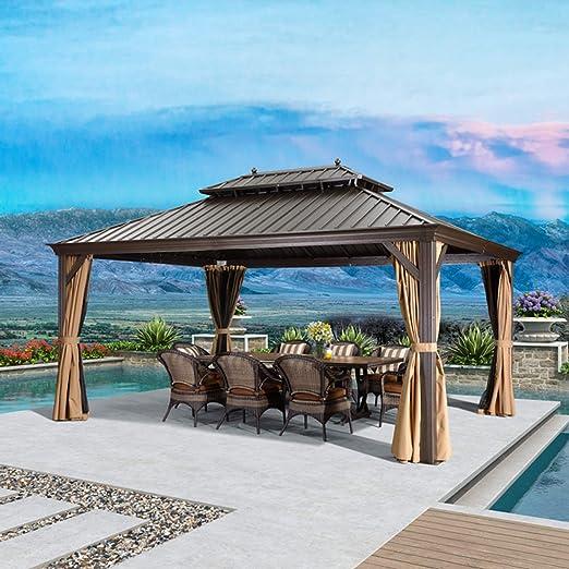 Toldo permanente de aluminio para patio y jardín, de hoja morada, de acero galvanizado, de doble techo, doble techo, de aluminio, con cortinas y red: Amazon.es: Jardín