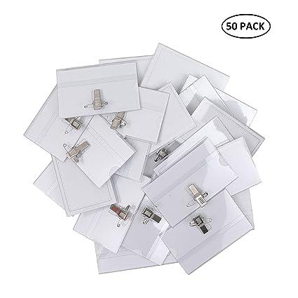 Porta Tarjetas Identificativas Transparente (Pack de 50) - Tarjeta de Identificación Horizontal 9cm x 5,7cm - Badge Holder con Pins Imperdible y Pinza ...