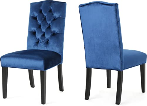 Christopher Knight Home 304054 Joyce Traditional Crown Top Navy Blue Velvet Dining Chairs Set of 2 ,