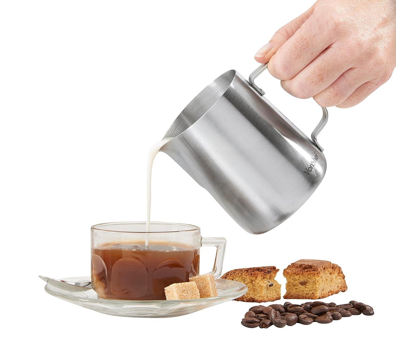 VonShef Jarra de Leche de Acero Inoxidable Grado 202, Apta para Café, Latte y Espumar Leche 945ml, 2 Años de Garantía Gratuita: Amazon.es: Hogar