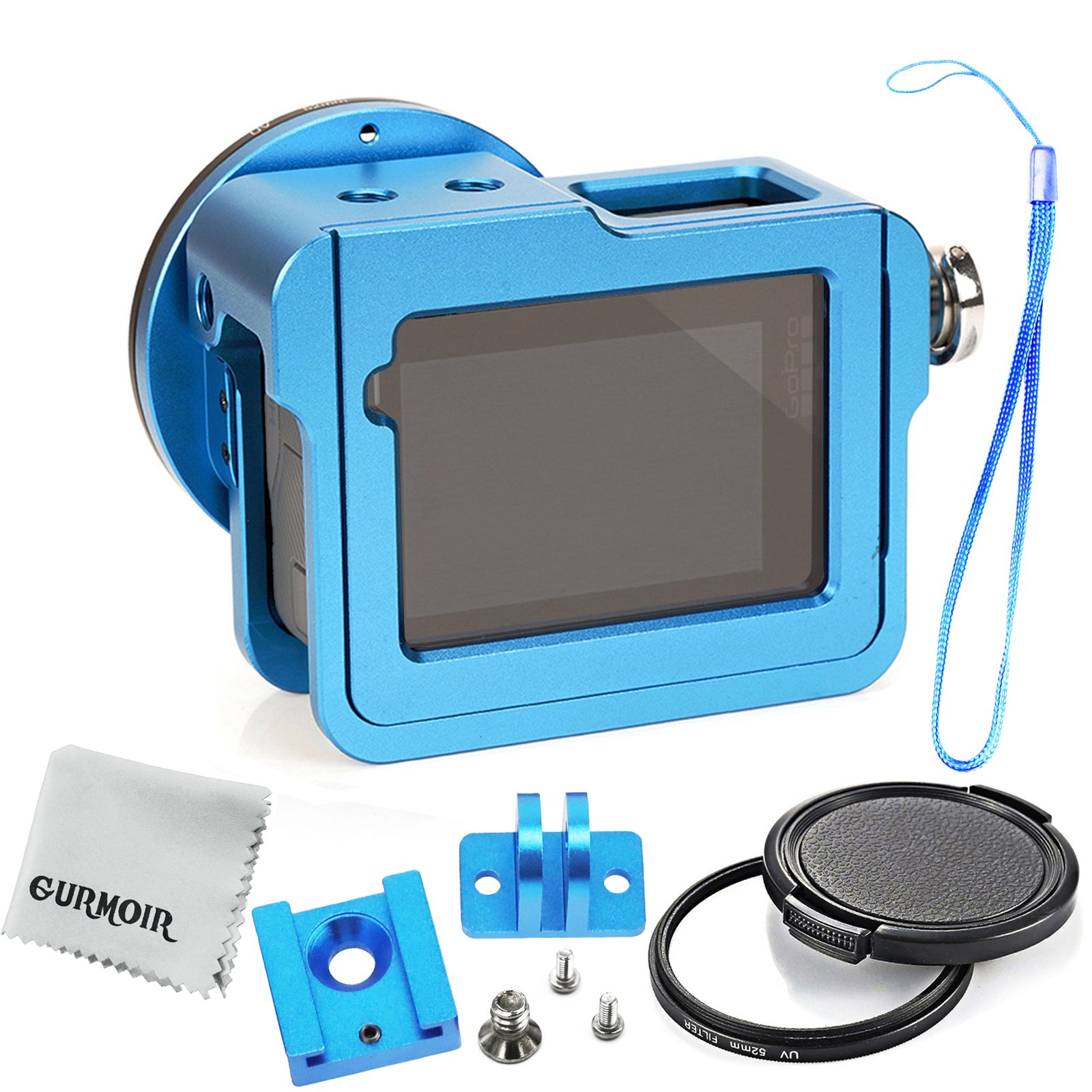 Gurmoir Aluminum Alloy Case Housing for Gopro Hero 6/Gopro HERO (2018) Action Camera (with Back Door)(Blue), Wire Connectable Protective Metal Skeleton Cage with 52 mm Filter