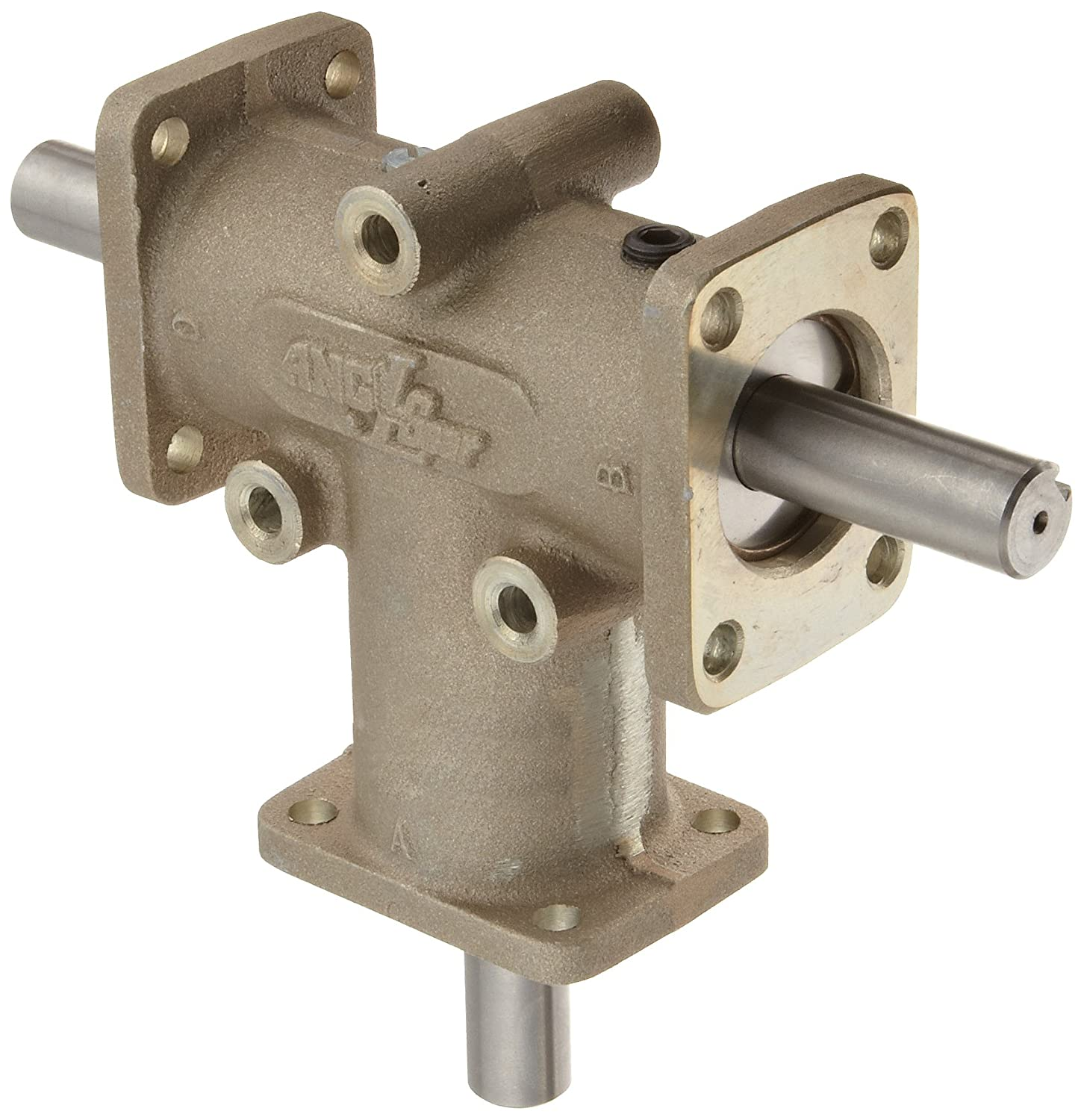 Image of Gearheads & Speed Reducers Andantex R3303 Anglgear Right Angle Bevel Gear Drive, Universal Mounting, Two Output Shafts, 3 Flanges, Inch, 5/8' Shaft Diameter, 1:1 Ratio, 1.21 Hp at 1750rpm