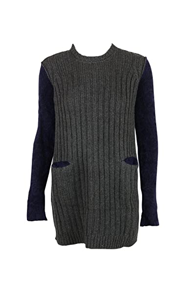 Hache Womens Grey Navy Ribbed Pocket Wool Blend Tunic Sweater 40 ...