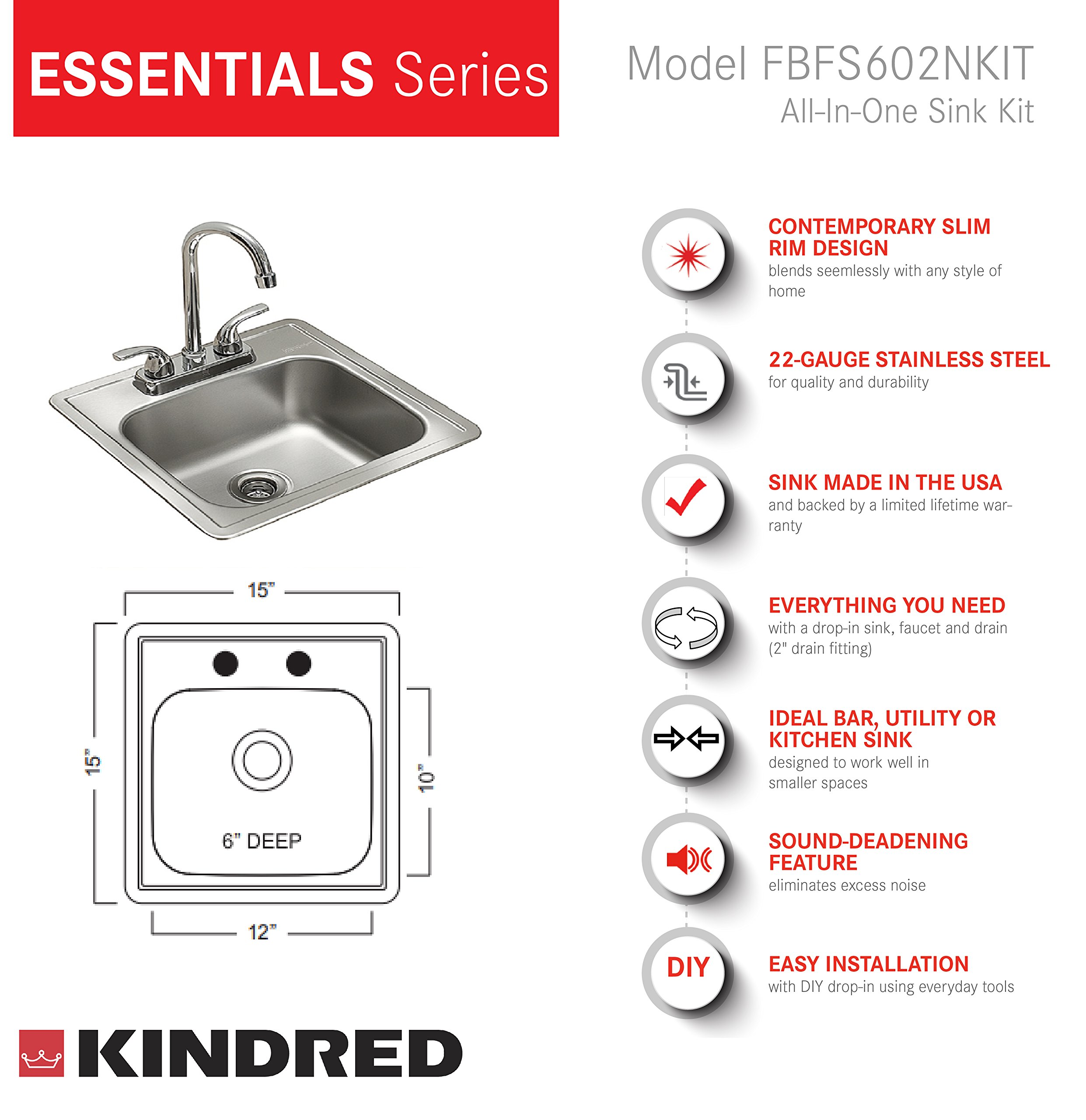 Kindred Essentials All-in-One Kit 15-inch x 15-inch x 6-inch Deep Drop-In Bar or Utility Sink in Satin Stainless Steel, FBFS602NKIT by KINDRED (Image #6)