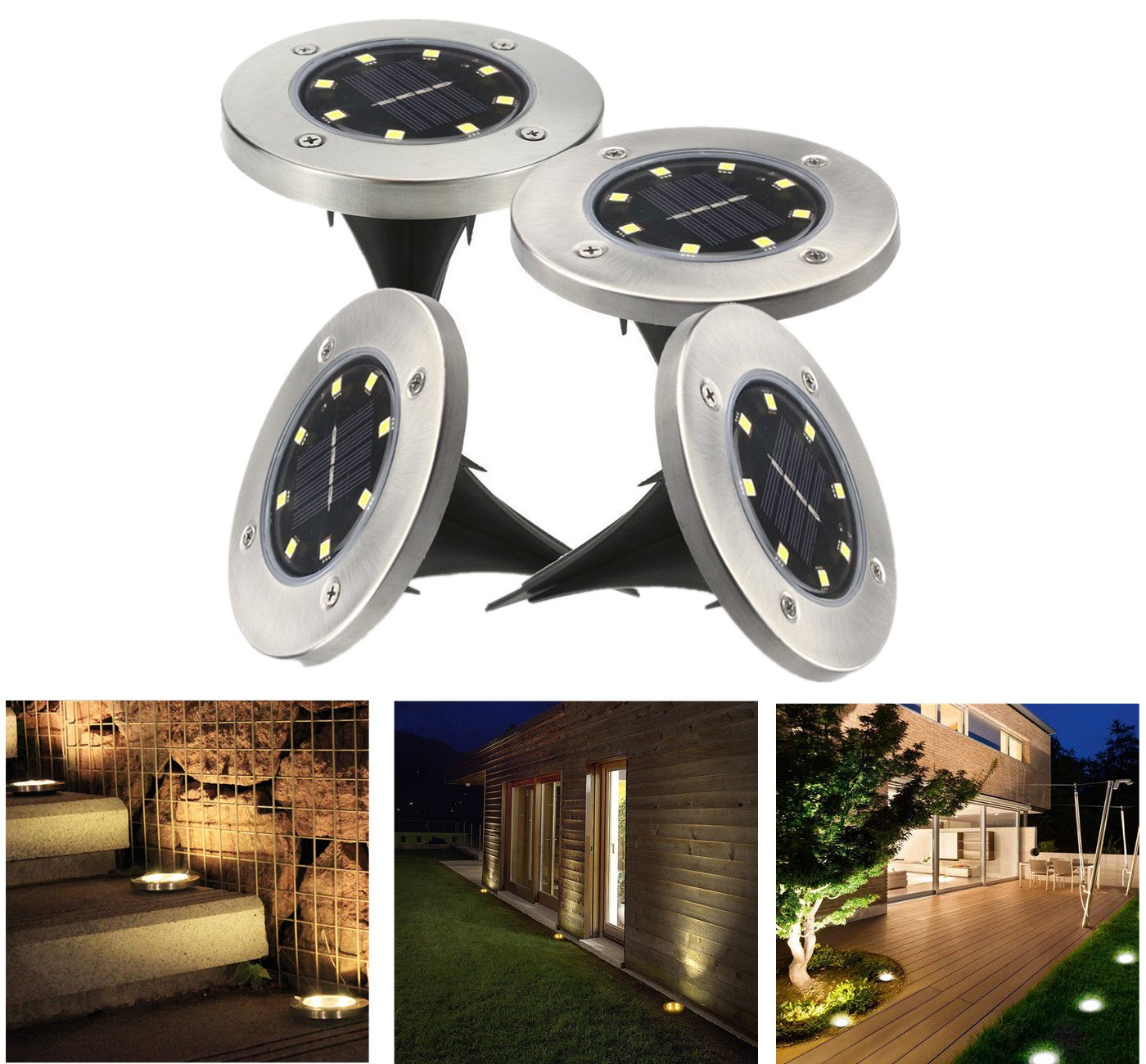 Solar Outdoor Ground Lights - Waterproof Stainless Steel Pathway Landscape lights For Outdoor& Garden, Pathway, Yard, Walk Way 8 LED Lights(16Pack, White)