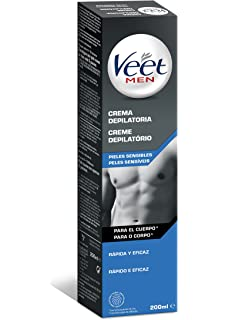 Veet for Men Gel Crema Depilatorio para Uso Corporal, Pieles Sensibles - 20 cl