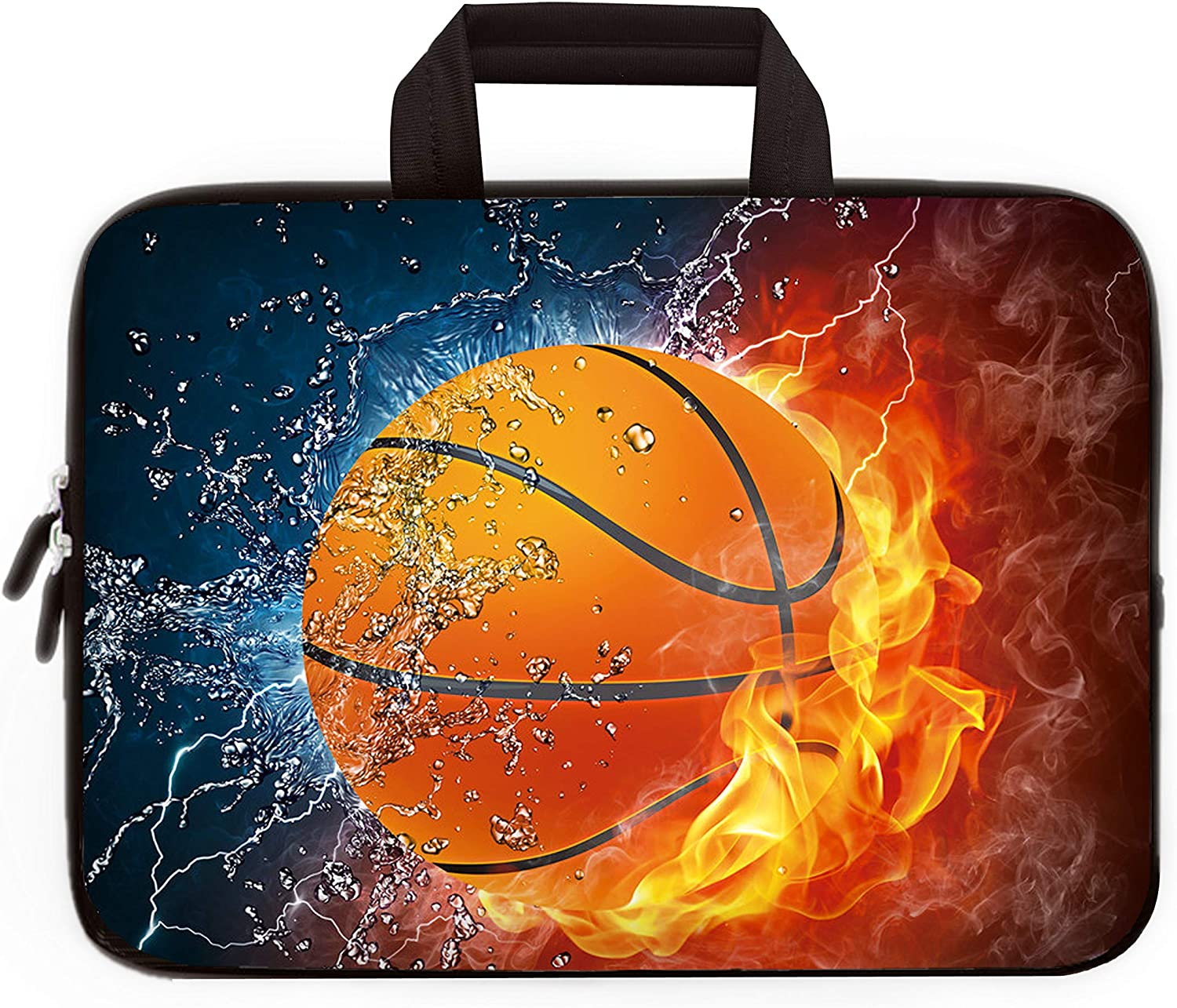 14 15 15.4 15.6 inch Laptop Handle Bag Computer Protect Case Pouch Holder Notebook Sleeve Neoprene Cover Soft Carrying Travel Case for Dell Lenovo Toshiba HP Chromebook ASUS Acer (Cool Basketball)