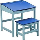 Premier Housewares 2402524 Bureau + Tabouret d'Enfant en MDF Bleu