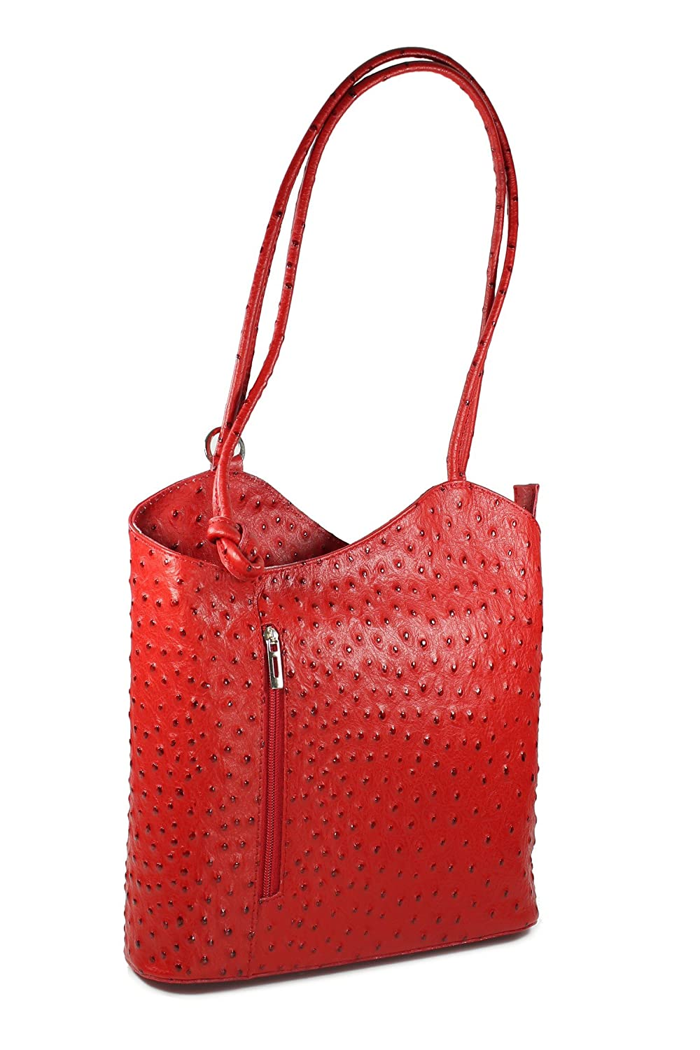 Belli? Italian Handbag Women Shoulder Bag Backpack 2in1 Genuine Leather Ostrich Embossing Red - 28x28x8 cm (W x H x D)