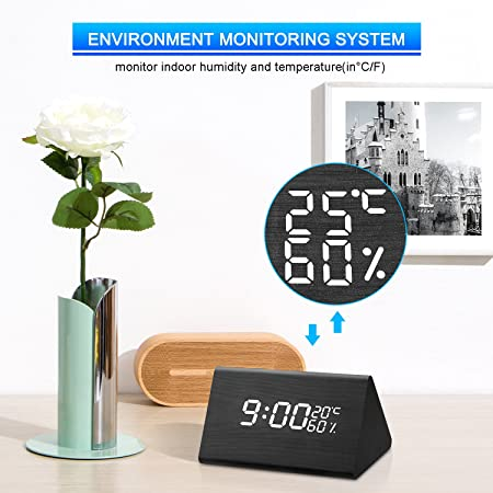 Amazon.com: Wooden Alarm Clock,ZIHUAN Digital Alarm Clock with Dual Time (12/24) Mode, 3 Levels Brightness, 3 Alarms Setting, Temperature and Humidity LED ...