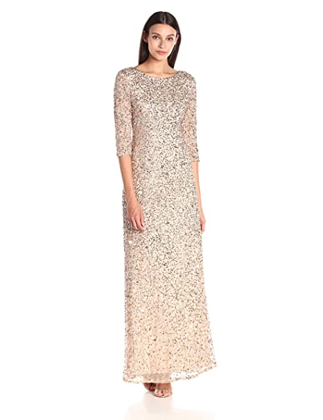 a51fddb0a61345 Adrianna Papell Women's 3/4 Sleeve Beaded Mermaid Gown, Champagne/Silver,  ...