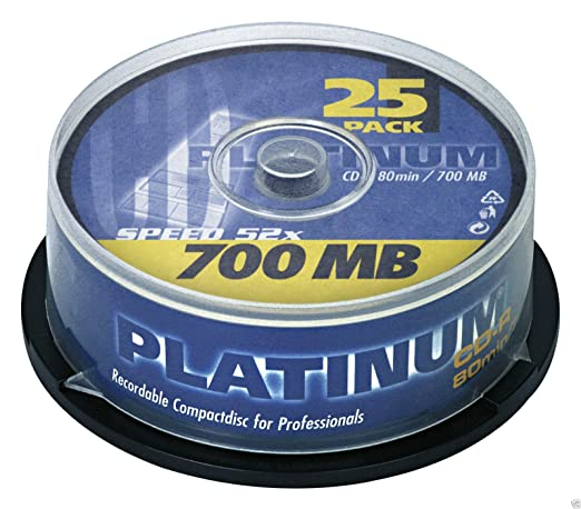 Platinum CD R 700 Mo, Vitesse Rohlinge (52 X 80 Min CD) 25er Spindel  Platinum: Amazon.fr: Informatique