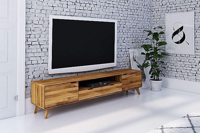 MASSIVMOEBEL24.DE MALMÖ 37 - Mueble para televisor (roble salvaje, 220 x 40 x 48 cm, barnizado): Amazon.es: Juguetes y juegos