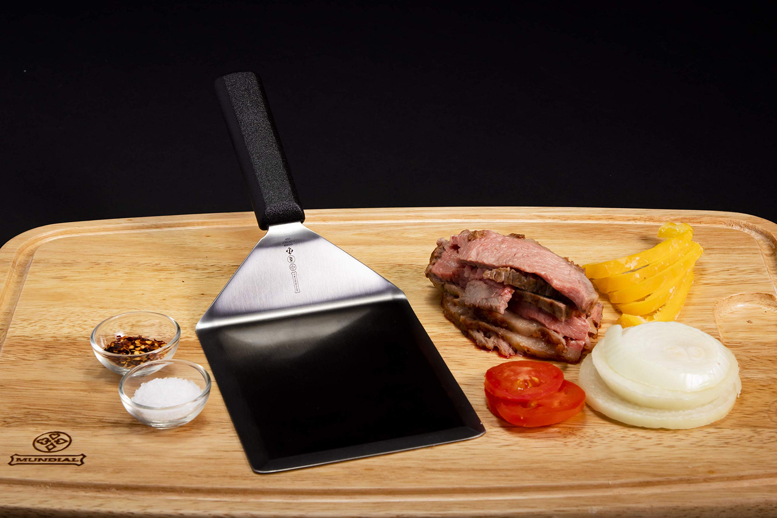 Mundial 5698HH Heat Resistant Steak and Hamburger Turner/Spatula 6-inch by 5-inch with Black Handle
