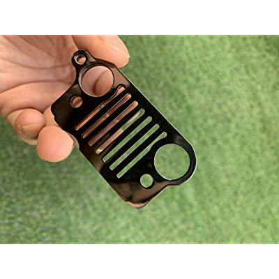 Probrother Jeep Grill Key Chain Laser-Cut 304 Stainless Steel, Will Never Rust, Bend or Brake,Keychain, Keyring (Black): Automotive