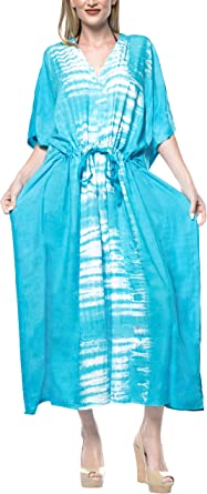 TALLA ES TAMAÑO: 42 (L) - 54 (2XL). LA LEELA Mujeres Caftán Algodón túnica Tie Dye Kimono Libre tamaño Largo Maxi Vestido de Fiesta para Loungewear Vacaciones Ropa de Dormir Playa Todos los días Cubrir Vestidos D