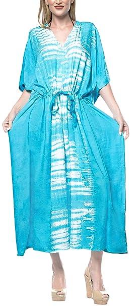 LA LEELA Lazo rayón salón Tinte Desgaste de la Noche de sueño Playa del Vestido del caftán Encubrir Azul Blanco: Amazon.es: Ropa y accesorios