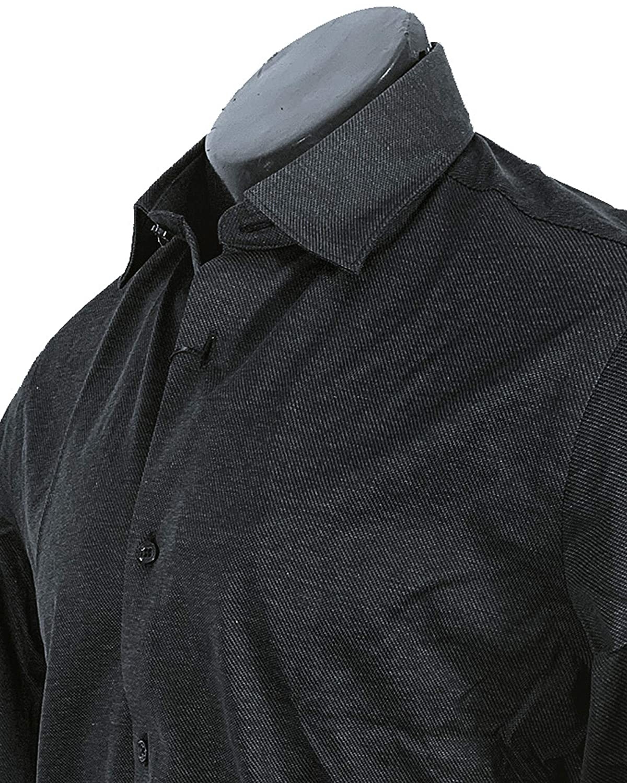 MASSIMO DUTTI Men 0165/365/800 - Camisa de algodón Ajustada Negro ...