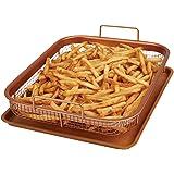 Copper Chef Crisper Non-Stick Oven Baking Tray with Elevated Mesh Basket, Copper, 2-Piece