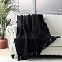 Thick Chunky Black Knitted Throw Blanket for Couch Chair Sofa Bed, Chic Boho Style Textured Basket Weave Pattern Blanket…