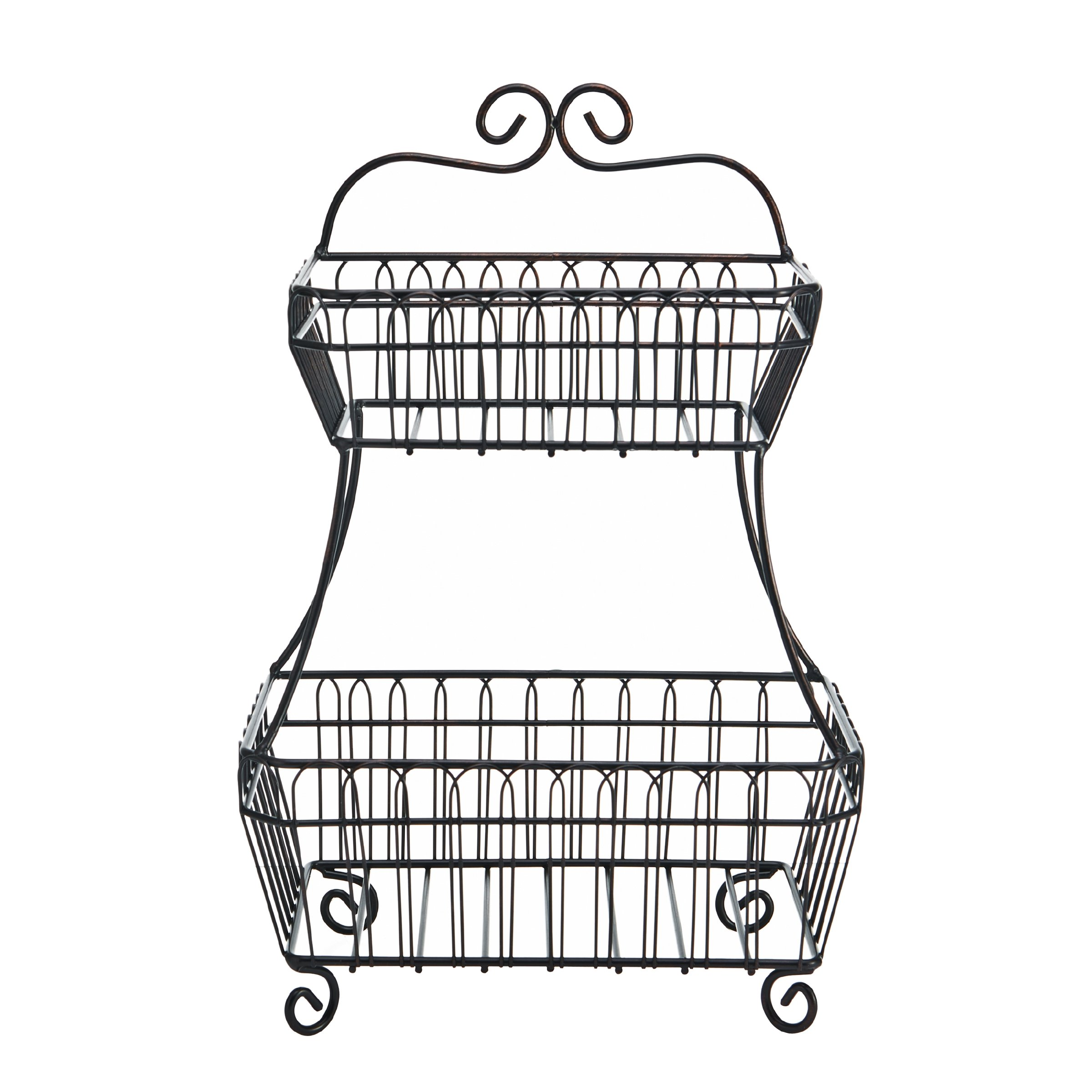 Gourmet Basics by Mikasa 5190751 French Countryside 2-Tier Flatback Metal Storage Basket, Antique Black