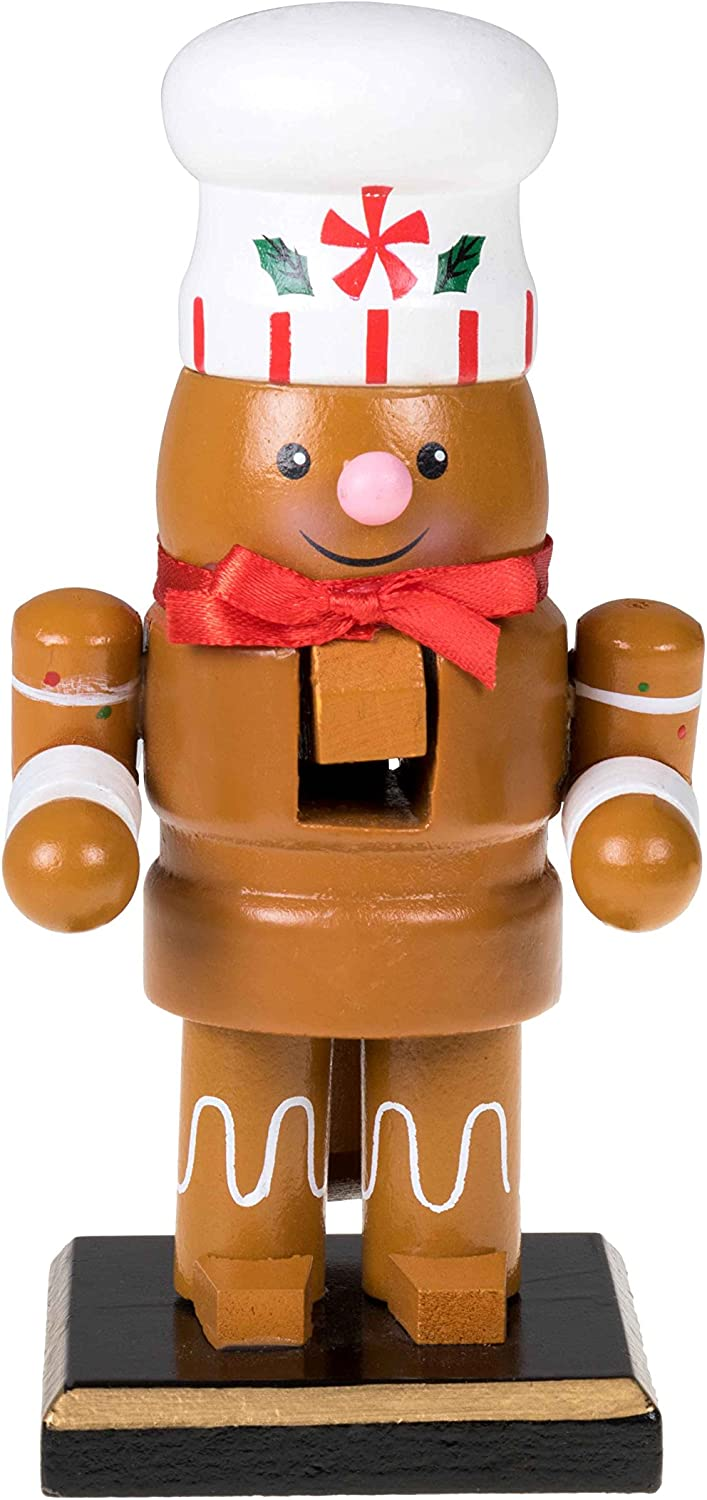 "Clever Creations Traditional Christmas Chubby Gingerbread Man Nutcracker Wearing White Chef's Hat | 6"" Tall Perfect for Shelves and Tables 