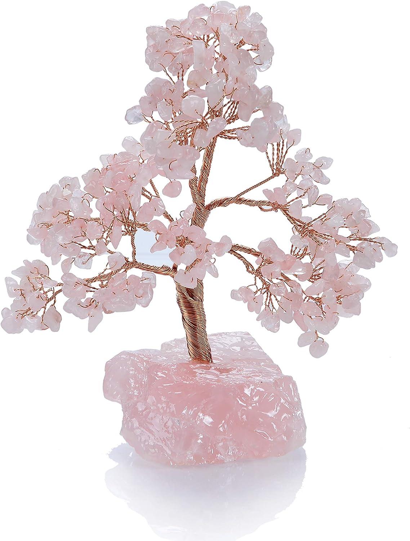 "8/"" Rose Quartz Gem Tree Lamp Candle Holder Gift Set Gemstone Crystal Tree Reiki."