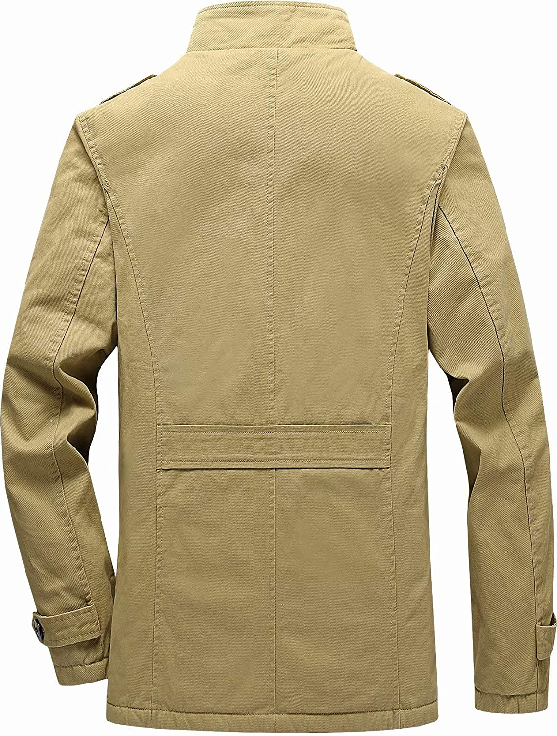 Vcansion Mens Winter Cotton Fleece Lined Jacket Coat Single Breasted Outerwear
