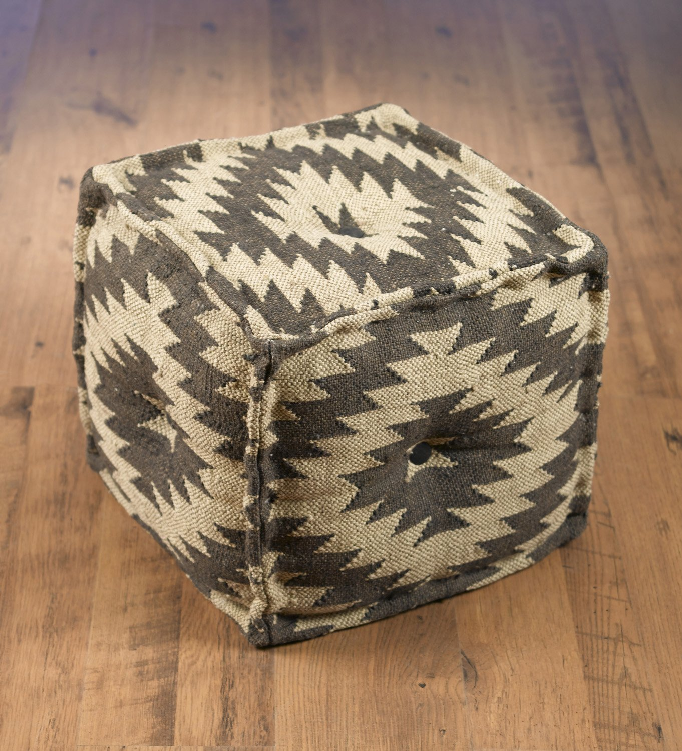 Wool Ottomans Aa Importing 48848 Black And White Chevron Pattern Pouf 16 X 17 X 17 Inches Black Model # 48848