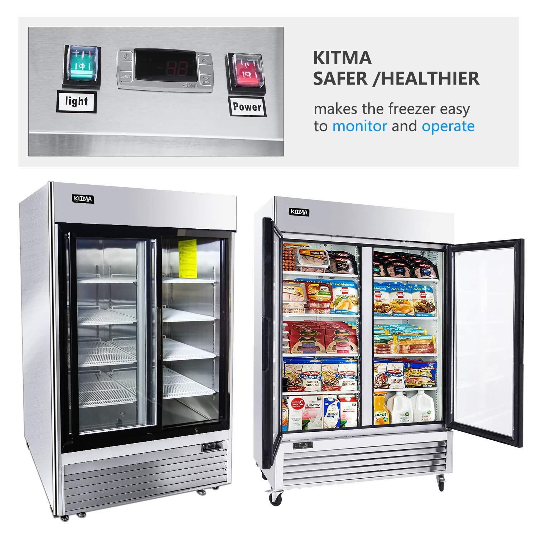 Commercial 49 Cu.Ft Display Beverage Cooler with LED Lighting 46/°F 33/°F KITMA Merchandiser Refrigerator with 2 Glass Door