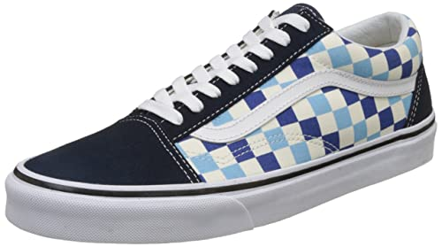 812fe28bf5d075 Vans Unisex s Old Skool (Checkerboard) Topaz Blue Leather Sneakers-10 UK