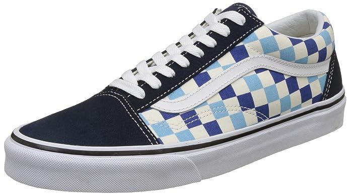 Vans Old Skool Sneaker Damen Herren Kinder Unisex Hellblau Dunkelblau Weiß Kariert