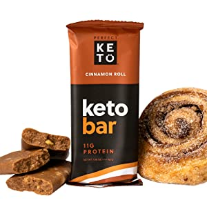 Perfect Keto Bars - The Cleanest Low Carb Keto Snacks with Collagen and MCT. No Sugar Added, Keto Diet Friendly - 3g Net Carbs, 19g Fat, 11g Protein - Keto Diet Food Dessert (Cinnamon Roll, 12 Bars)