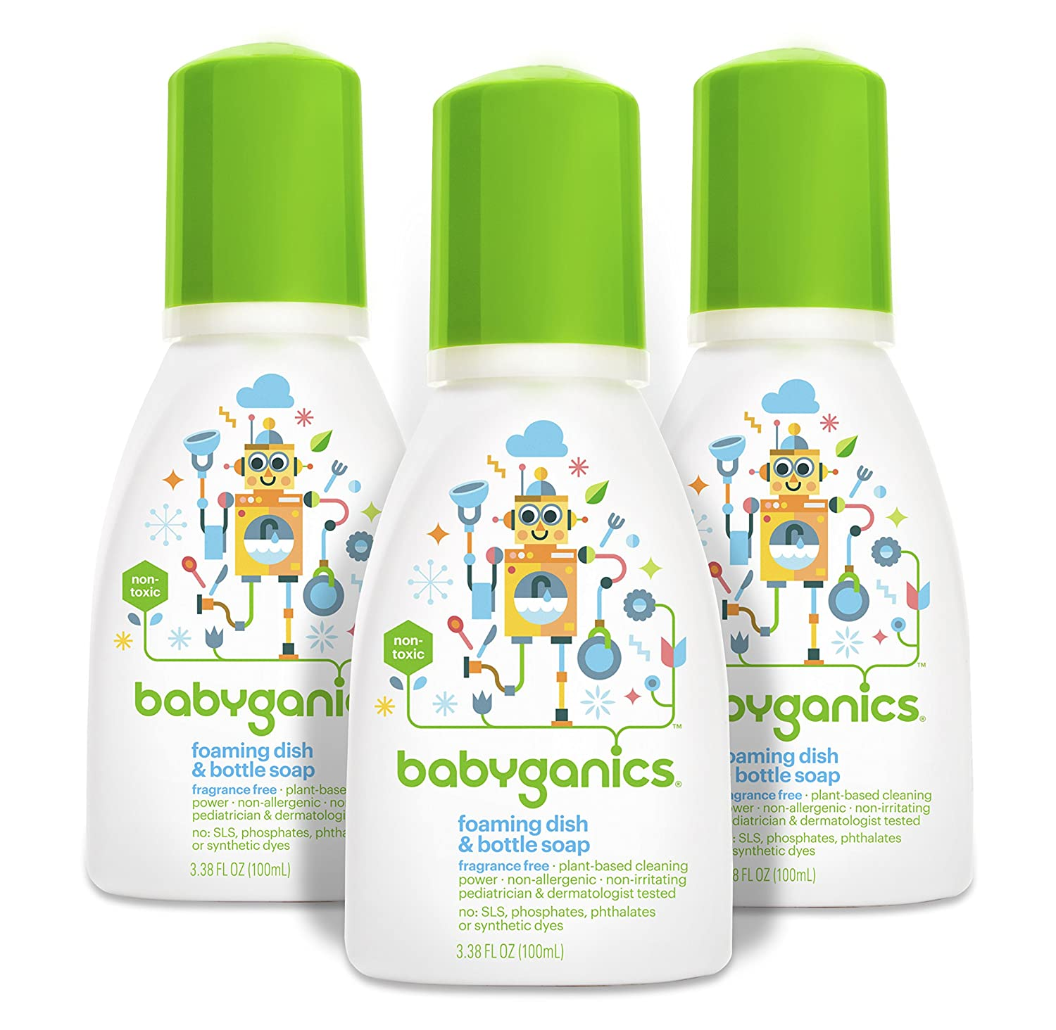 Babyganics Foaming Dish and Bottle Soap, Fragrance Free, On-The-Go 100ml, 3.38 oz. (Pack of 3), Packaging May Vary BG-183
