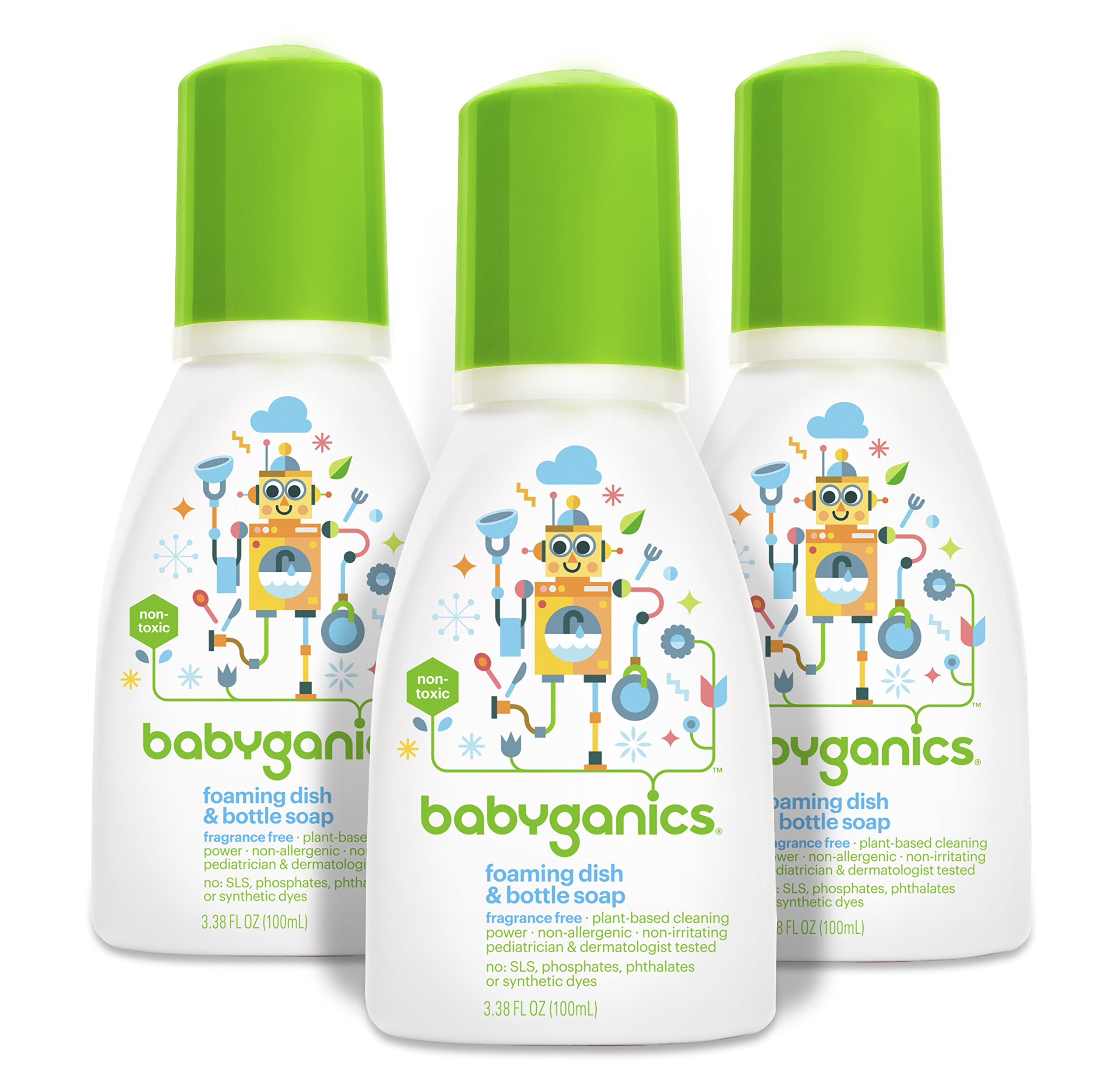 Babyganics Foaming Dish and Bottle Soap, Fragrance Free, On-The-Go 100ml, 3.38 oz.  (Pack of 3), Packaging May Vary by Babyganics