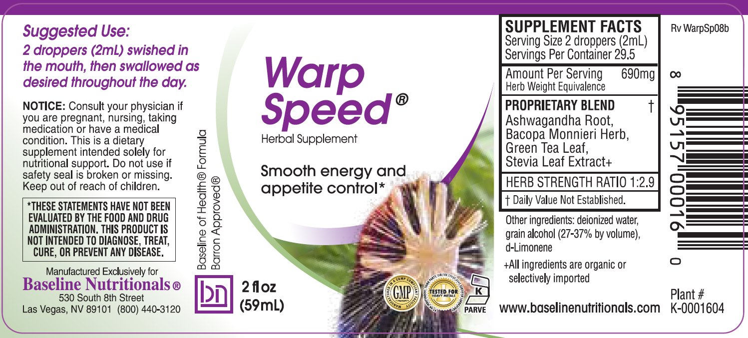 Baseline Nutritionals Warp Speed - Natural Mental Stimulant to assist with Concentration & Stress with Ashwagandha, Bacopa, Green Tea by BASELINE NUTRITIONALS