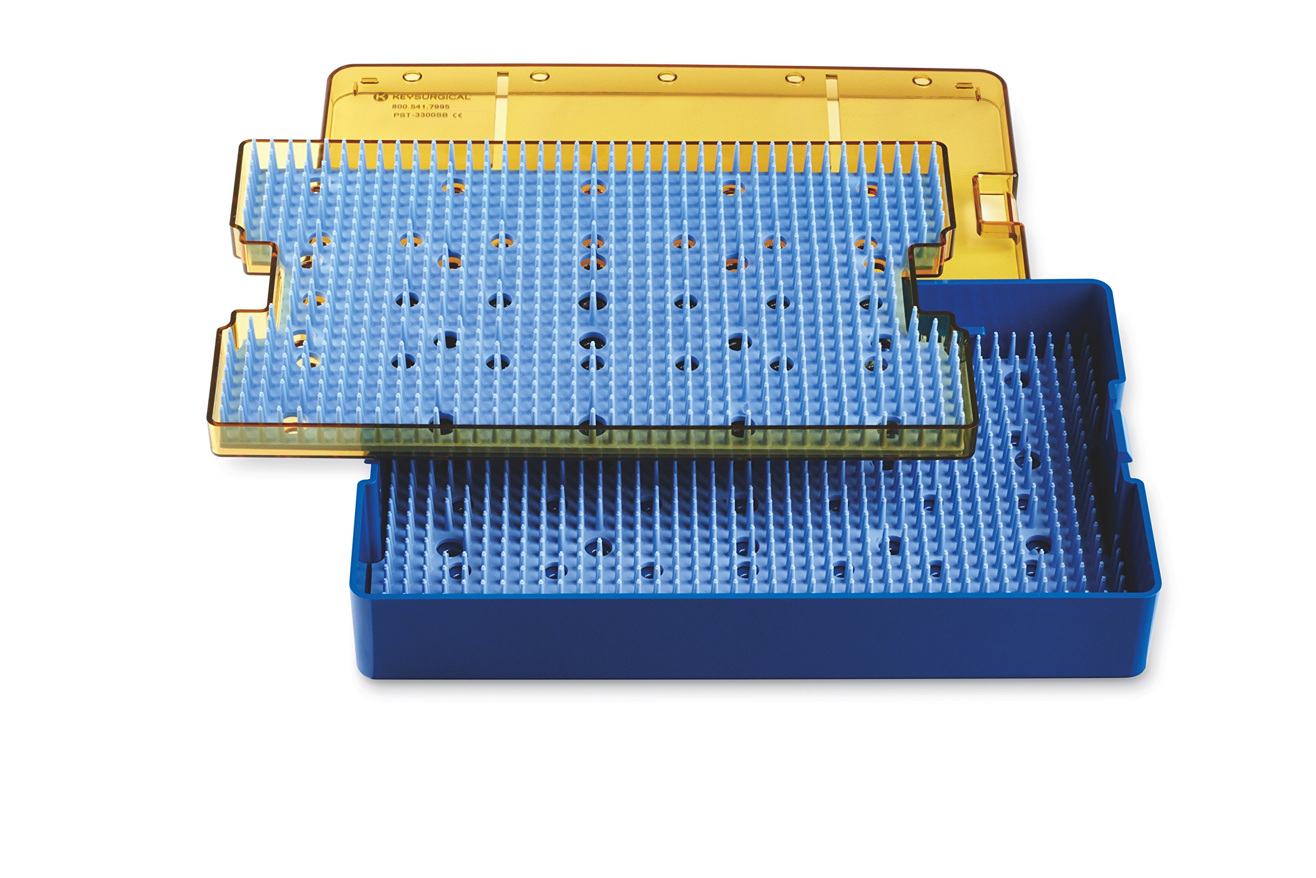 Key Surgical PST-3300SB Plastic Sterilization Tray, 10'' x 6'' x 1.5'' Base, Lid, and Silicone Finger Mat Insert