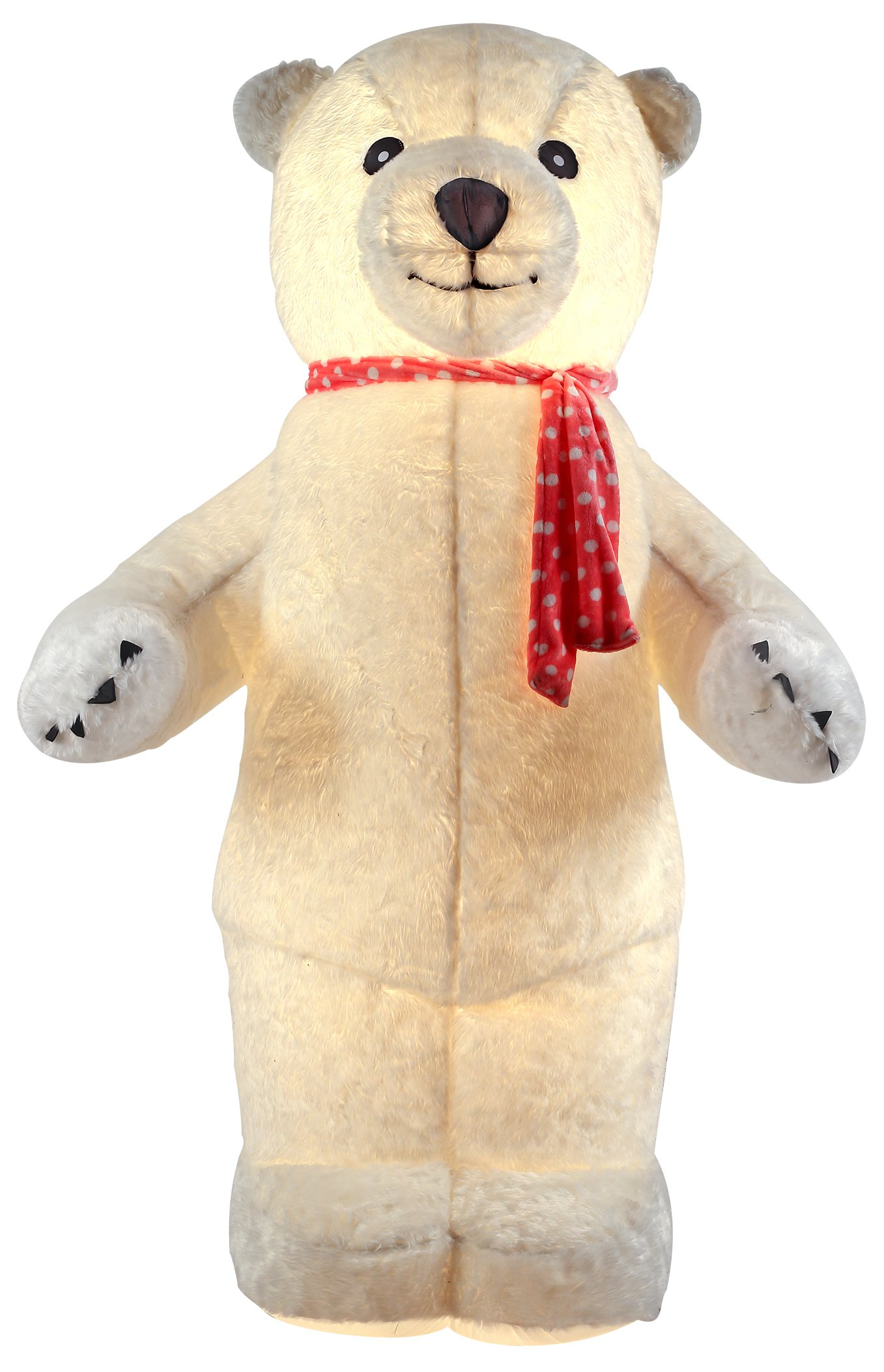 VIDAMORE 6.5FT Inflatable Standing Polar Bear with Plush Fabric Cover Indoor Outdoor Christmas Decorations